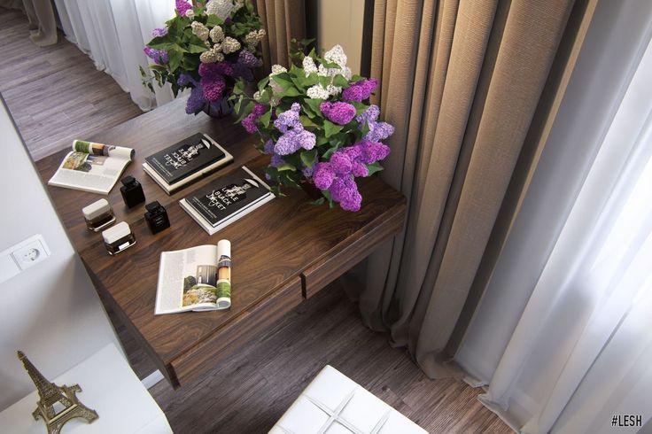 Оформление спальни в современном стиле, столик для макияжа (bedroom, contemporary style, make-up table)  | Студия LESH