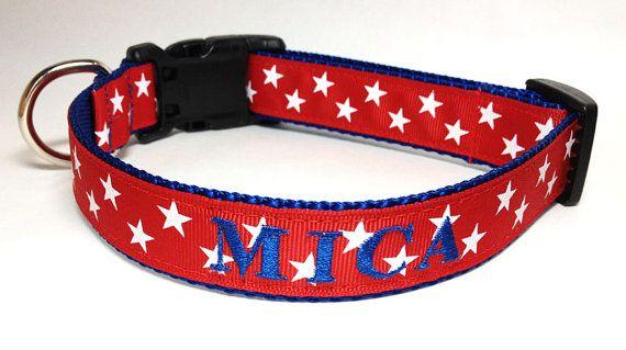 Red+Stars+Dog+Collar++custom+name+and+phone+by+TheMonogrammedMutt,+$28.00