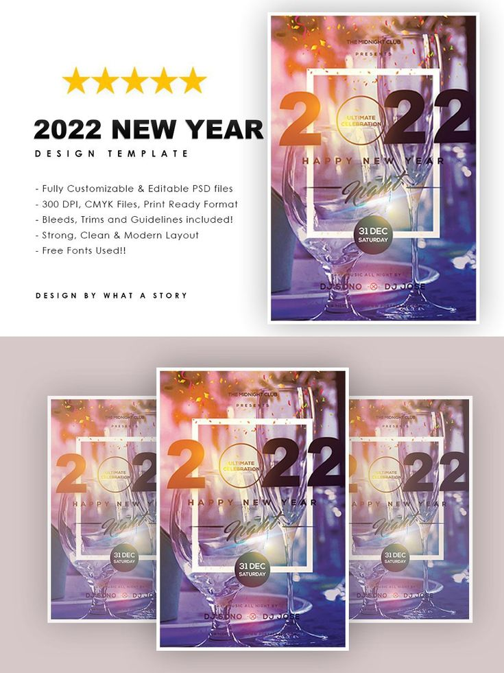 2022 HAPPY NEW YEAR in 2020 Party flyer, Design template