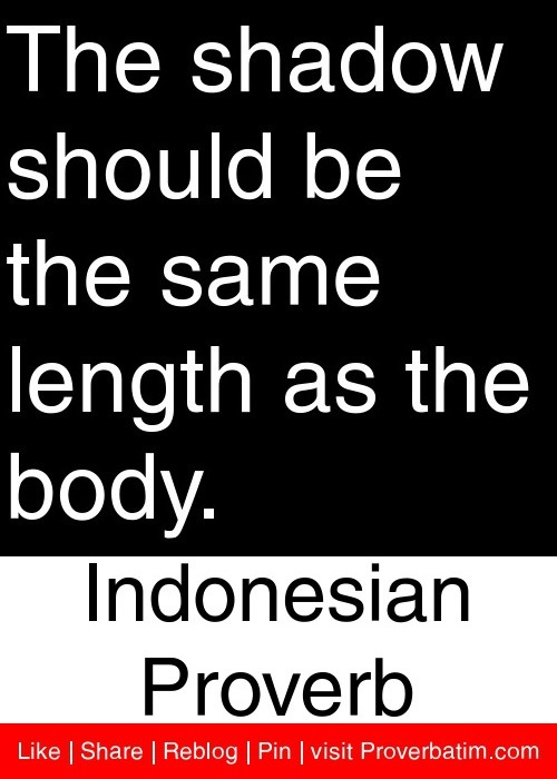 The shadow should be the same length as the body. - Indonesian Proverb #proverbs #quotes