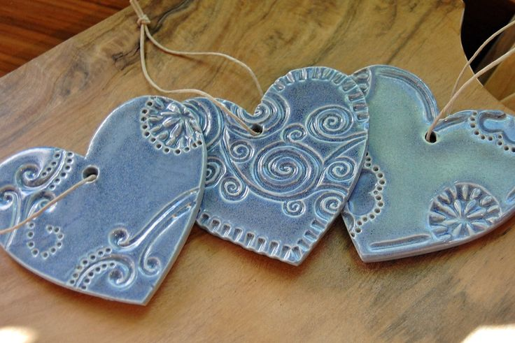 Lace ceramic hearts