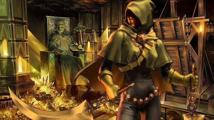 меч, вор, сокровище, девушка, статуя, оружие, золото, капюшон