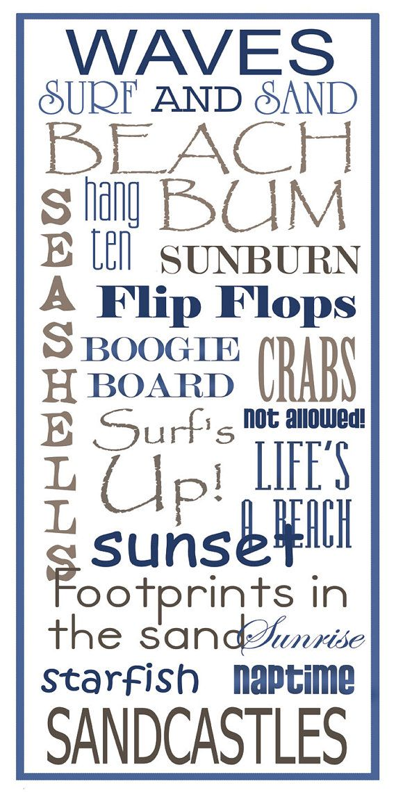 Subway Art Sign  Beach Typography Print