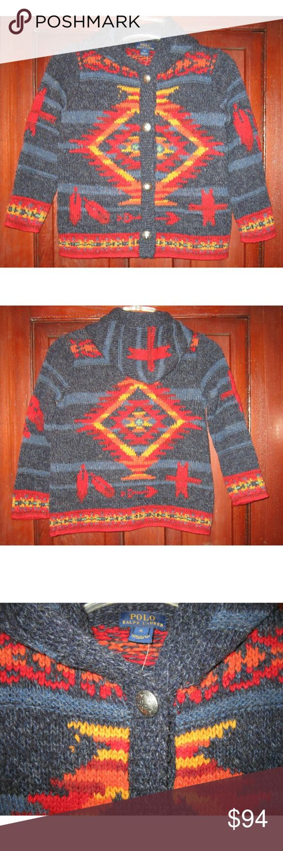 """Polo Ralph Lauren 6 Cardigan Sweater Indian Boys Beautifully made new with tags button down cardigan sweater from Polo RL in size boys 6.  Indian blanket, Southwestern, Navajo design that RL is famous for in mostly wool.  Hood, long sleeves, engraved metal buttons.  New and never worn. 17""""/34"""" chest buttoned and with give in the knit,   20"""" long 83% wool, 8% other fibers, 7% lambs wool Polo by Ralph Lauren Other"""