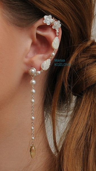 """Ear cuff earring for the right ear - """"Elegant Fairy"""" - with lime gem, pearls, carved mother of pearl plus stud for other ear."""