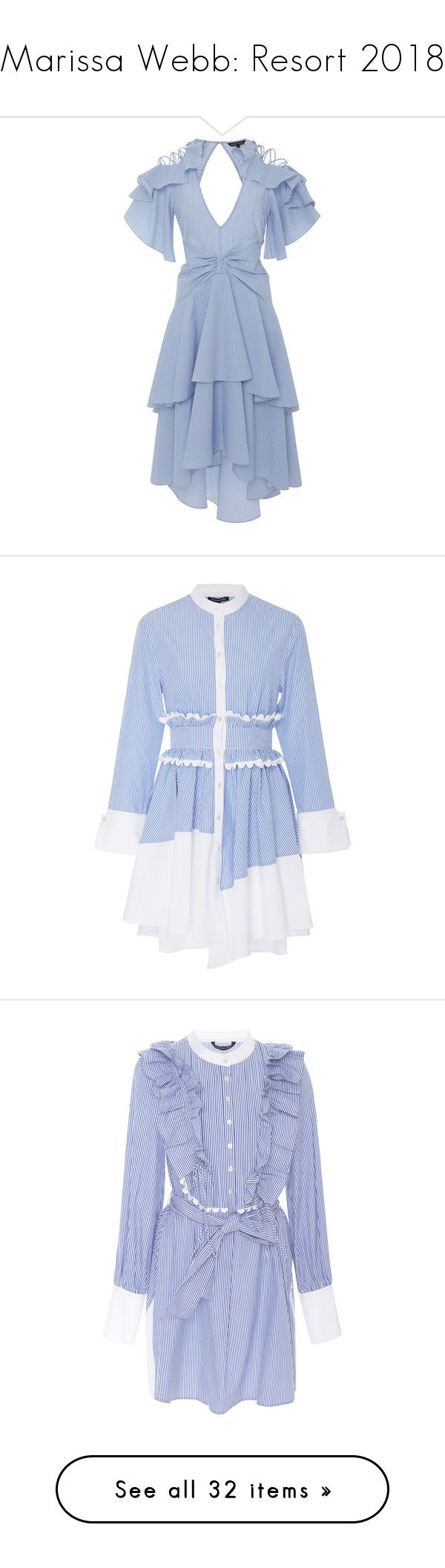 """Marissa Webb: Resort 2018"" by livnd ❤ liked on Polyvore featuring marissawebb, livndfashion, livndmarissawebb, resort2018, dresses, blue, sleeved dresses, blue seersucker dress, seersucker dress and blue tiered dress"