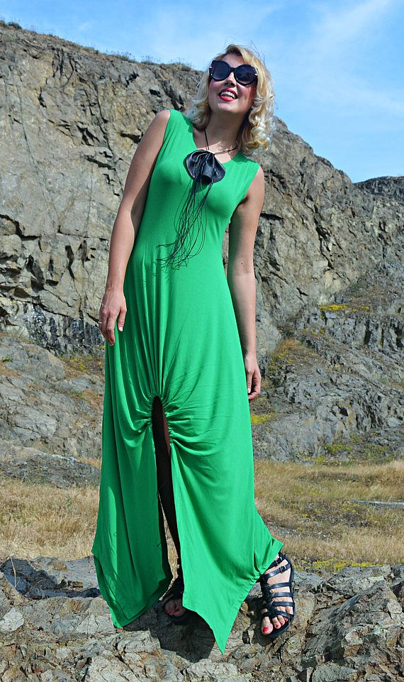 Green Maxi Dress TDK263 Summer Maxi Dress Long Maxi Dress