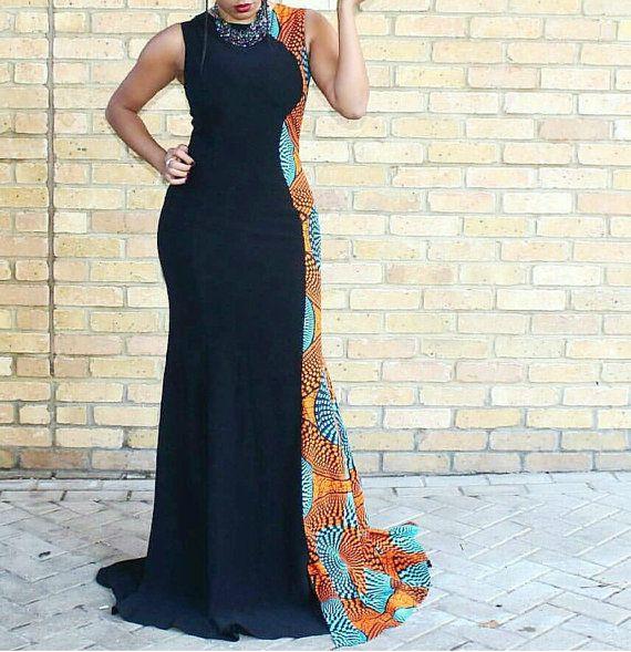 Bola Plain and Patterned Ankara Floor Length Dress by Zizibespoke