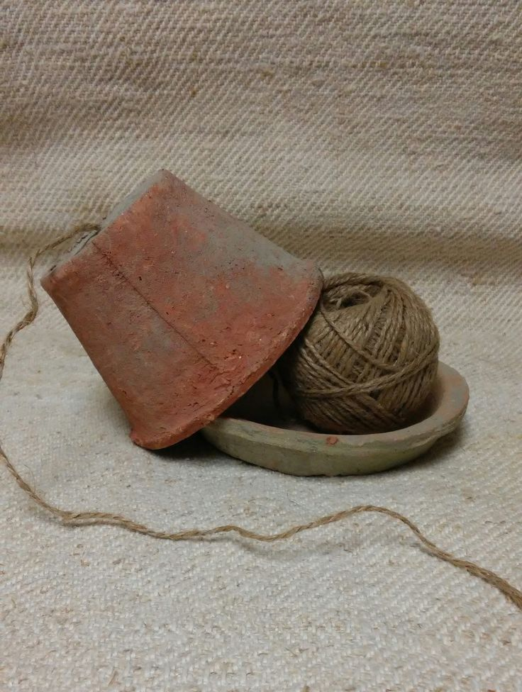"""A ball of garden twine encased in a 4"""" French terra cotta pot and saucer. Perfect for your potting shed or table, or the kitchen.                                                                                                                                                                                 More"""
