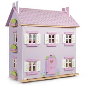 ΞΥΛΙΝΟ ΚΟΥΚΛΟΣΠΙΤΟ LAVENDER Μωβ, ροζ και πράσινες οι αποχρώσεις αυτού του ξύλινου σπιτιού..Zωγραφισμένο μέσα κι έξω, με παράθυρα, παραθυρόφυλλα και πόρτα που ανοίγουν, όπως επίσης και ολόκληρη η μπροστινή του πλευρά με τους ειδικούς μεντεσέδες για καλύτερη πρόσβαση σε όλα τα δωμάτιά του. Έχει μετακινούμενη σκεπή κάτω από την οποία βρίσκεται η σοφίτα (3 πατώματα στο σύνολο). Τα έπιπλα και οι κούκλες δεν συμπεριλαμβάνονται σε αυτό.
