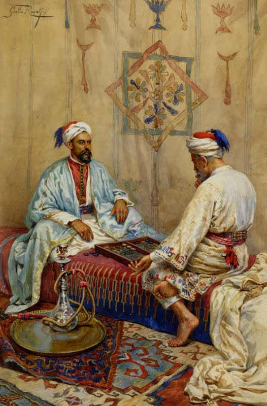 Giulio Rosati (1858-1917)-'a game of backgammon'-watercolour