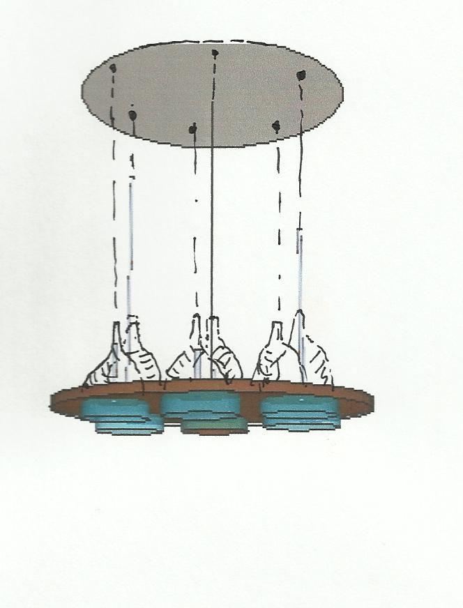 lámpara suspensión cristal acero corten barnizado/vidrio soplado artesanal  pieza creada por Patricia ESCAMEZ ARCHITECTE