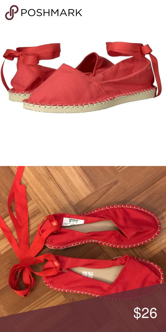 Havaianas Origine Slim Espadrille red NWT Sz 6 Brand new in red size 6, Havaianas Origine Slim Espadrille. Never worn, new style. Put some soul in your sole with the Havaianas® Origine Slim Espadrille.  Durable canvas upper. Slip-on design with ankle wrap ties. Cushioned footbed. Flexible rubber sole. Made in Brazil. Havaianas Shoes Espadrilles
