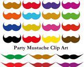 Party Rainbow Mustache Printable Clip Arts :)