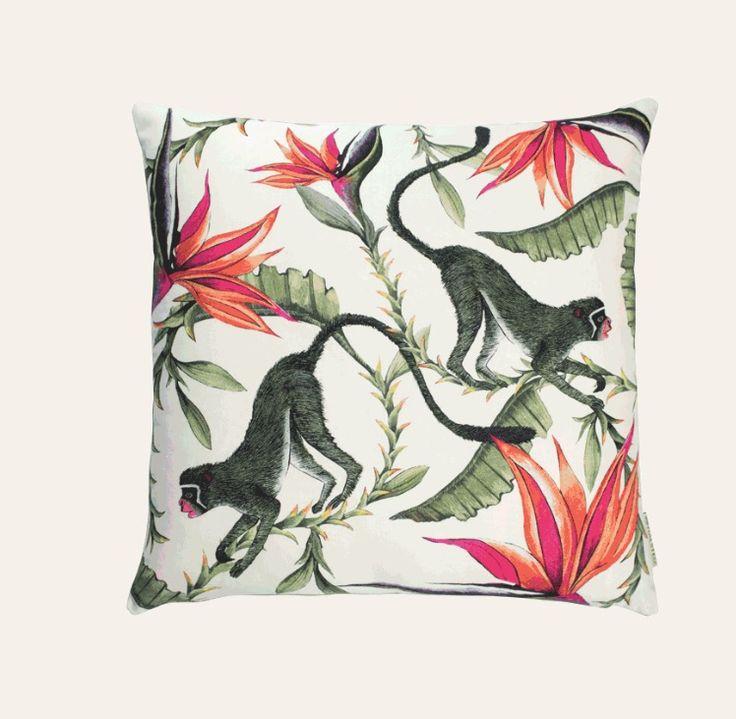 Monkey Paradise Chalk Cushion  100% Cotton. Printed 50x50cm cushion in Monkey Paradise design, Chalk colour. Back of cushion in a Black colour Cotton .