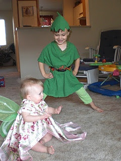 Peter Pan and Tinkerbell costums. See how I did it on my craft blog.