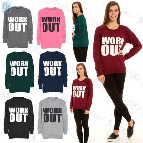 Womans Jumper Ladies Work Out Print Sweatshirt Long Sleeve Tops Over Plus Size