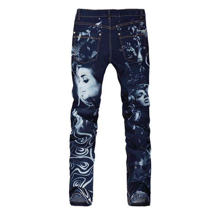 Envío gratis! Men ' s azul impreso belleza pintadas vaqueros elásticos para hombre de mezclilla personalidad pantalones flacos hombres de vaqueros dibujo coloreado en Jeans de Moda y Complementos Hombre en AliExpress.com | Alibaba Group