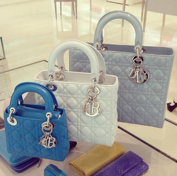 Dior Little Lady blue white grey handbag purse, silver hardware Sizes s, m, l