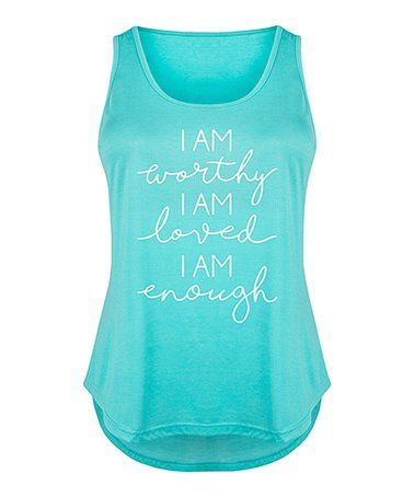 Another great find on #zulily! Tahiti Blue 'I Am Enough' Tri-Blend Tank - Plus #zulilyfinds