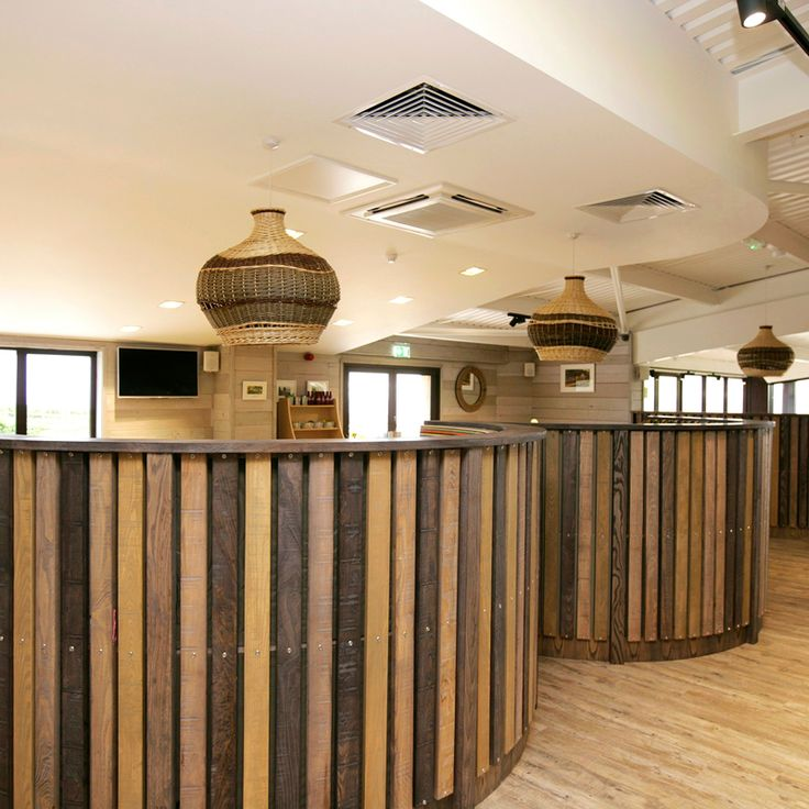 Acoustic Panel Timber Slat Seating, Ladram Bay Holiday Park - Pebbles Restaurant, Devon, England