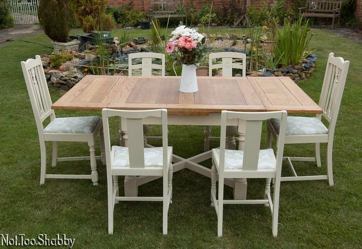 Lovely country draw leaf extending dining table & six chairs Shabby Chic Annie Sloan
