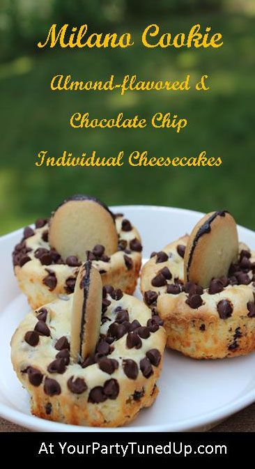 Pepperidge Farm Milano Cookies are magic when combined with this creamy almond-flavored cheesecake and mini chocolate chips!