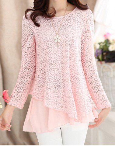 Ladylike Scoop Neck Solid Color Lace Splicing Chiffon Long Sleeve Blouse For Women
