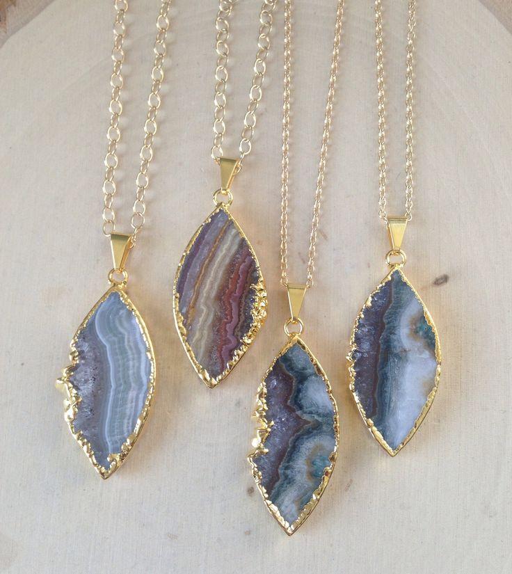 Amethyst Necklace, Raw Amethyst Necklace, Amethyst Slice Necklace, Gold Dipped Amethyst Necklace, Boho Jewelry, Amethyst, You Choose by MalieCreations on Etsy