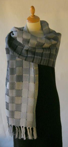Large woolen shawl in grey shades. 100 % wool. Double weaving technique. www.atelierstellaria.no