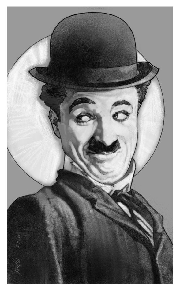 Drawing of another legend of the classic comedy, Charlie Chaplin.