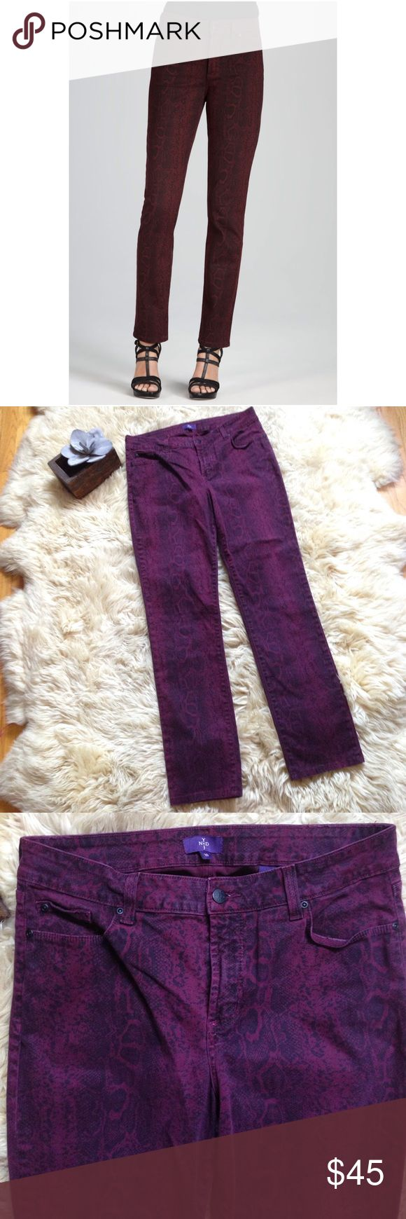NYDJ Python Print Skinny Pants NYDJ Python Print Skinny Jeans. Dark purple with gray/black print. NYDJ Pants Skinny