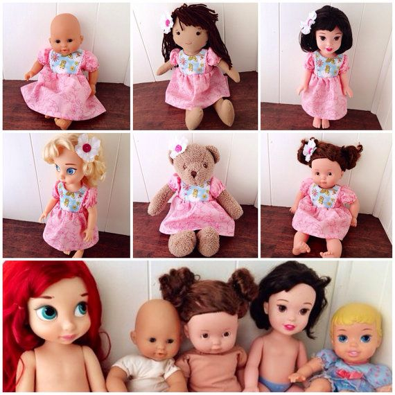 The Alice Doll Dress in Pink with Owl by TheLittleRedMamaHen fits Disney Animator, Disney Toddler Dolls, baby dolls- and more!