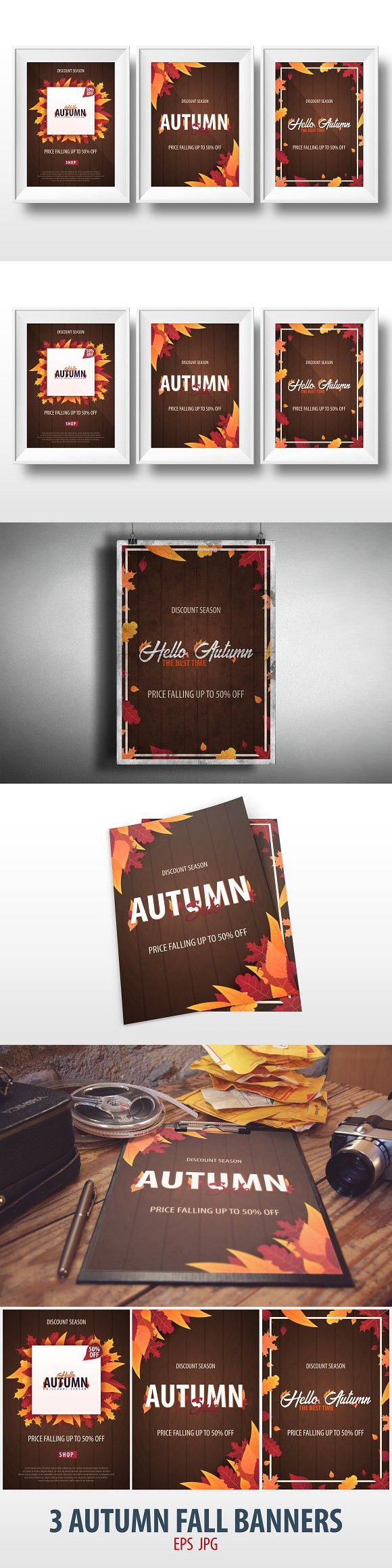 Autumn Fall Banners. Typeface #advert #advertising
