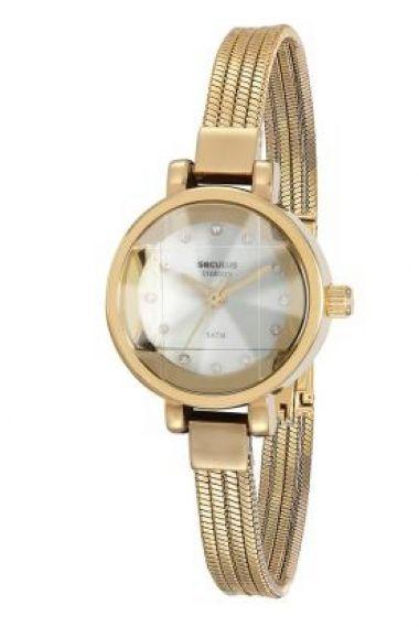 23532LPSVDB1 Relógio Feminino Dourado Seculus   Guest Club
