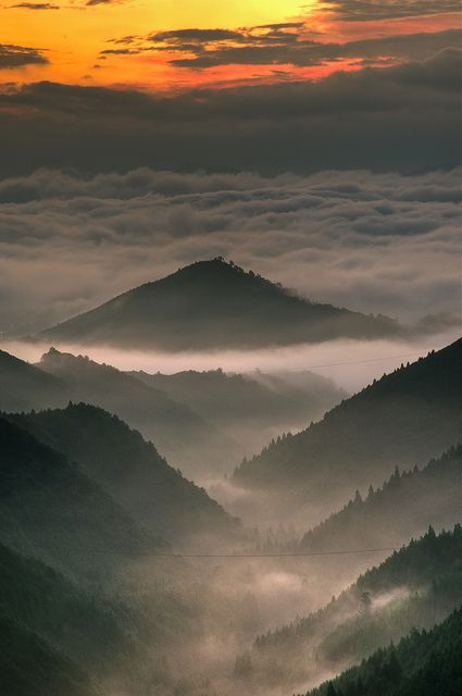 Wakayama, Japan. #Mountains soaring above the clouds. From a distance it looks like folding paper.