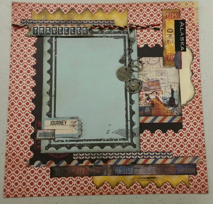 Cover page using Kaisercraft Check In line, plenty of Tim Holtz products, braided twine and My Minds Eye chevron. Very fun! # Pin++ for Pinterest #