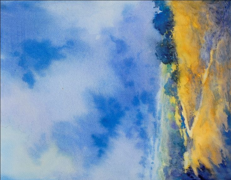 """""""Hill Country Abstract, No. 2"""", is an original watercolor, 11"""" X 15"""" on 140-pound Kilimanjaro cold press paper, using American Journey and Davinci paints. The painting is an exploration of the beauty of the Texas Hill Country where I live and paint."""