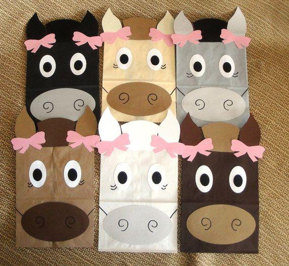 Hecho por encargo - conjunto de 10 a mano caballo diseño fiesta tratar sacos para tus niños granja, país, rima, vaquero, corral, Western, Pony o Animal
