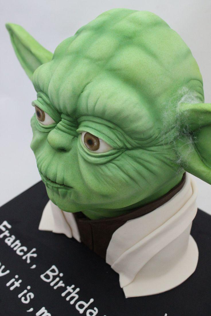 3D yoda cake with air spray finish.