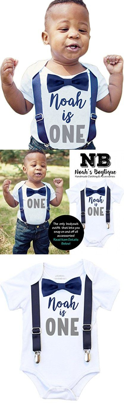Noah's Boytique Personalized Name First Birthday Outfit Boy Gray and Navy Bow Tie Suspenders and Number One Cake Smash Outfit 1st 12-18/18 Months