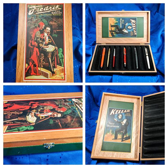 Magic & Illusion Fountain Pens Display/Storage Decoupage Wood Cigar Box   This hinged, all wood cigar box has been thoughtfully designed and decorated using decoupage technique. It is a one of a kind gift. It would be a beautiful gift for any fountain pen lover. Fredrik the Great with Devils on the outside and Kellar Self Decapitation on the inside.    We have done our best to select the highest quality cigar boxes available. However, there may be some box imperfections that will not affect…
