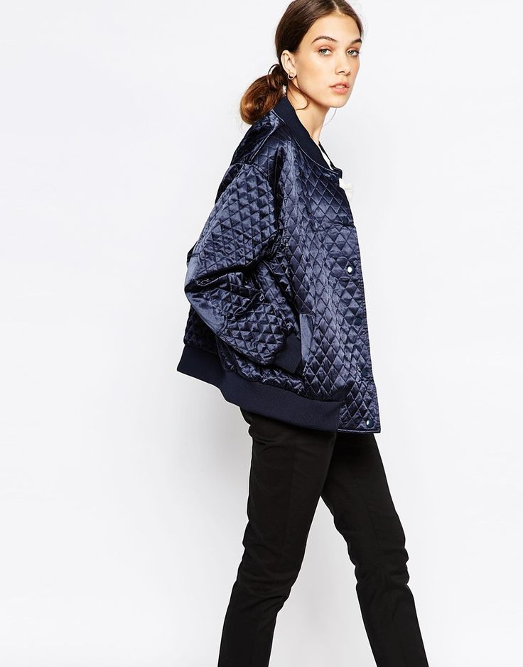 Ganni Quilted Bomber Jacket in Satin