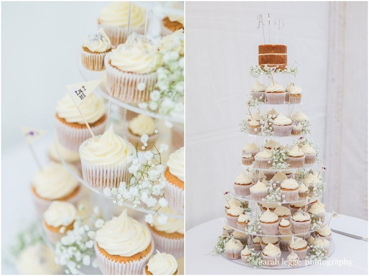 Wedding cupcakes with naked top cake
