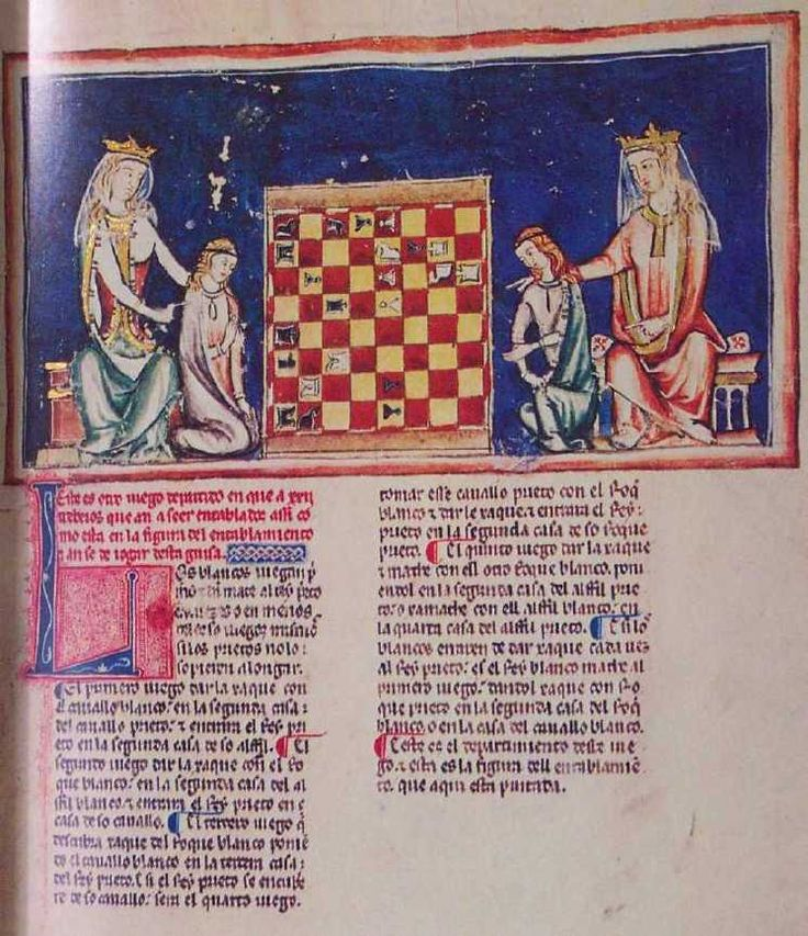 Chess problem. Alfonso X Book of Games
