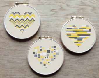 Geometric modern cross stitch heart patterns by AnimalsCrossStitch