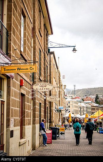 Lovely & historic sandstone buildings at Salamanca Market square in Hobart, Tasmania, Australia