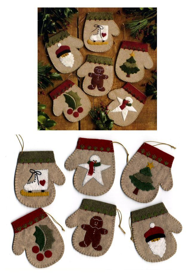 Free Simple Felt Ornament Patterns | ornaments kit pattern felt string and floss to make 6 mitten ornaments ...