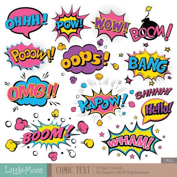 Texte comique numérique Clipart, Clipart texte Superhero, super-héros Pop Art texte et bulles Clipart
