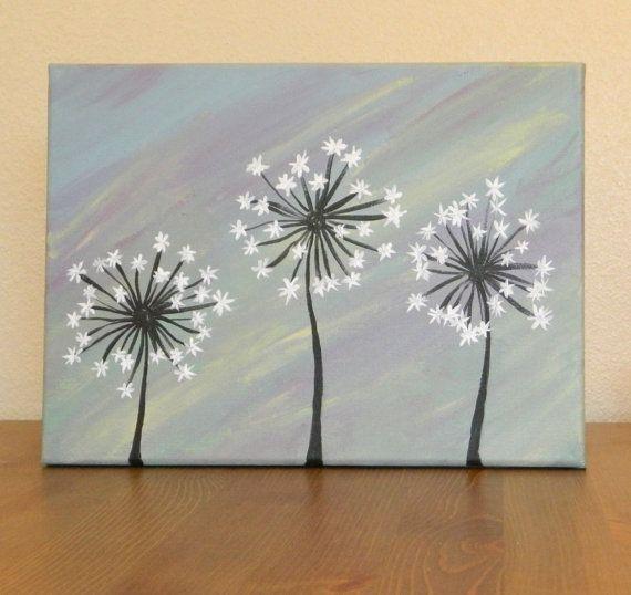 Original Dandelion Acrylic Painting on Canvas by AshleyMadelines, $20.00